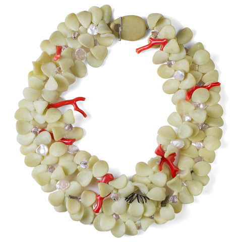 Serpentine & Coral Petal Necklace