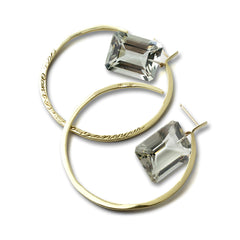 Message Hoop Earrings - Gold with Emerald Cut Stone Drops - Joan Hornig Jewelry