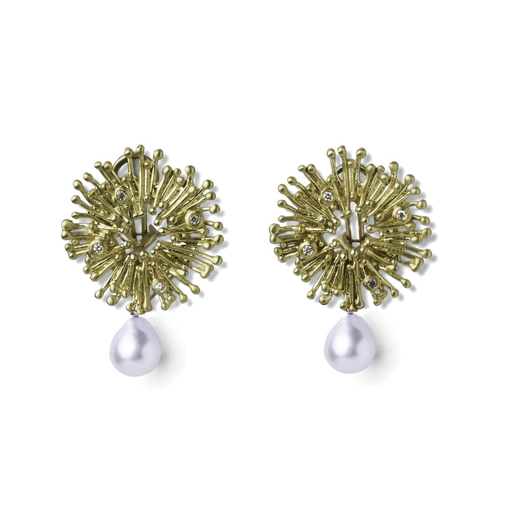 Sunburst Earrings with South Sea Pearl Drops - Joan Hornig Jewelry