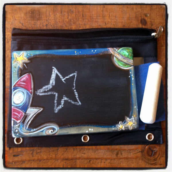 Handcrafted Travel Chalkboard - Outerspace