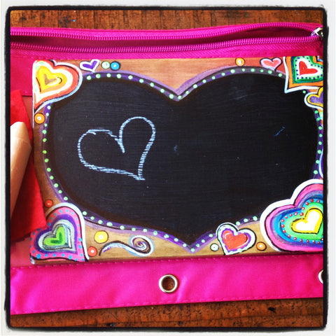 Handcrafted Travel Chalkboard - Hearts