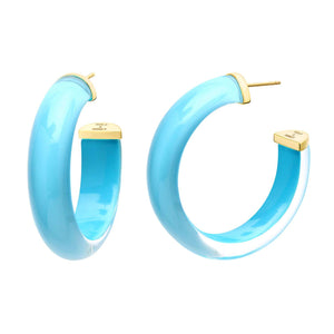 "ILLUSION LUCITE 2"" HOOP EARRING"