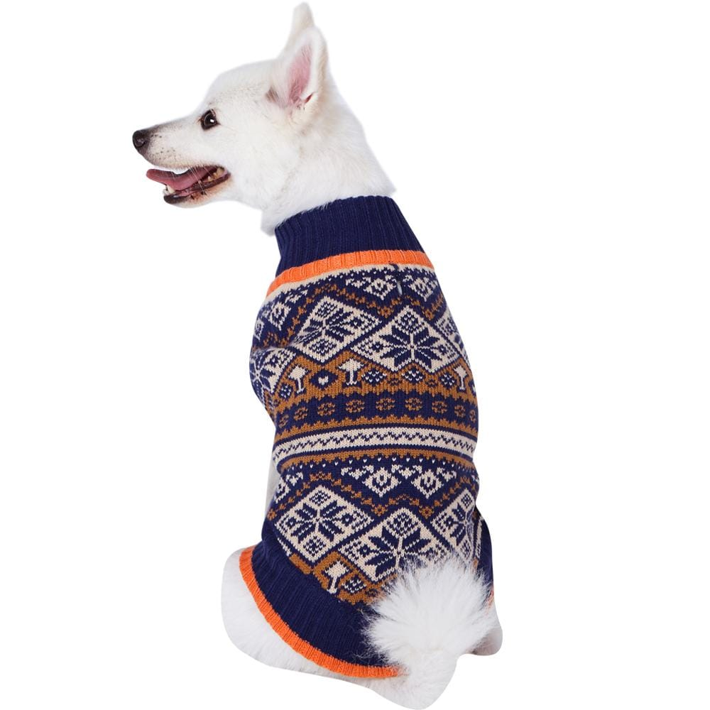 Dog Sweater Blueberry Pet Nordic Pattern Inspired Fair Isle Dog Sweater in Navy Blue Navy Blue Snowflake / 10""