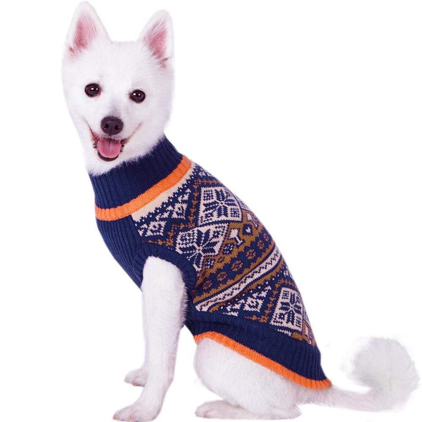 Dog Sweater Blueberry Pet Nordic Pattern Inspired Fair Isle Dog Sweater in Navy Blue