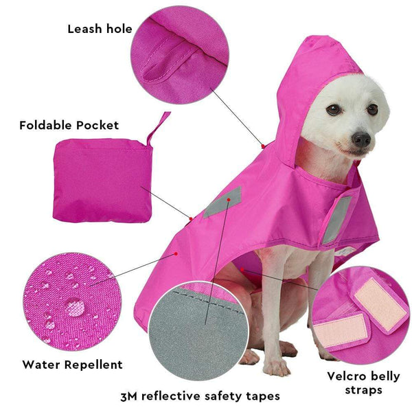 Dog Raincoat Blueberry Pet Packable Reflective Dog Rain Poncho