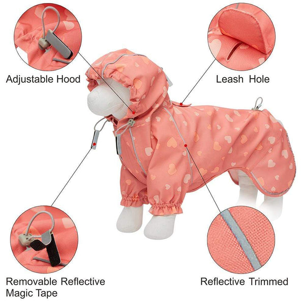 Dog Raincoat Blueberry Pet Pink Reflective Dog Raincoat with 2 Legs
