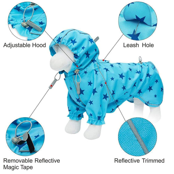 Dog Raincoat Blueberry Pet Blue Reflective Dog Raincoat with 2 Legs