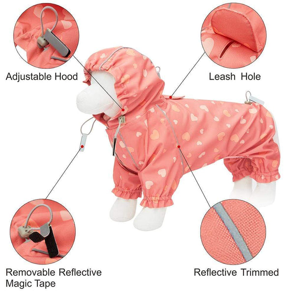 Dog Raincoat Blueberry Pet Pink Reflective Dog Raincoat with 4 Legs