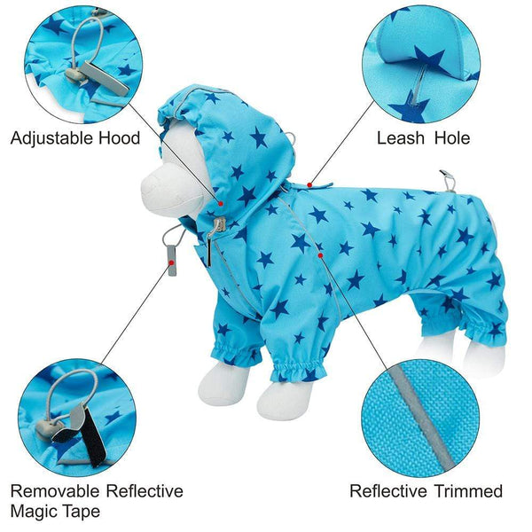 Dog Raincoat Blueberry Pet Blue Reflective Dog Raincoat with 4 Legs