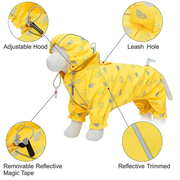 Dog Raincoat Blueberry Pet Sunflower Yellow Reflective Dog Raincoat with 4 Legs