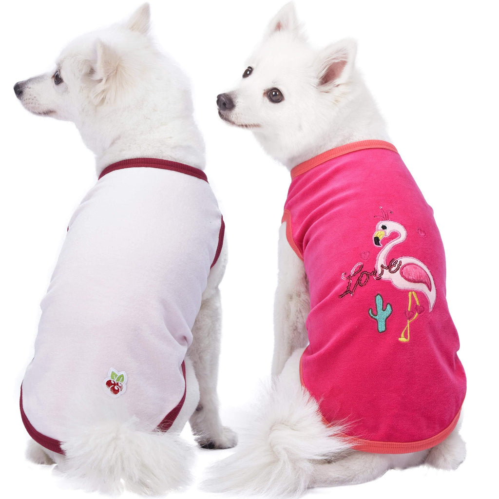 Dog Shirt Blueberry Pet Vacation Scene Flamingo Dog Shirts, 2 Pack Perfect Vacation / 10""