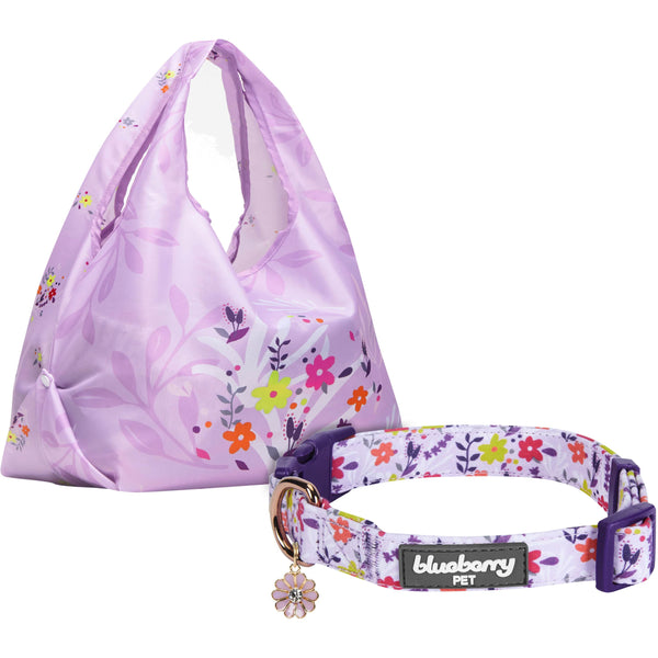 Home Décor Blueberry Pet Spring Scent Inspired Dog Collar & Reusable Shopping Bag Set