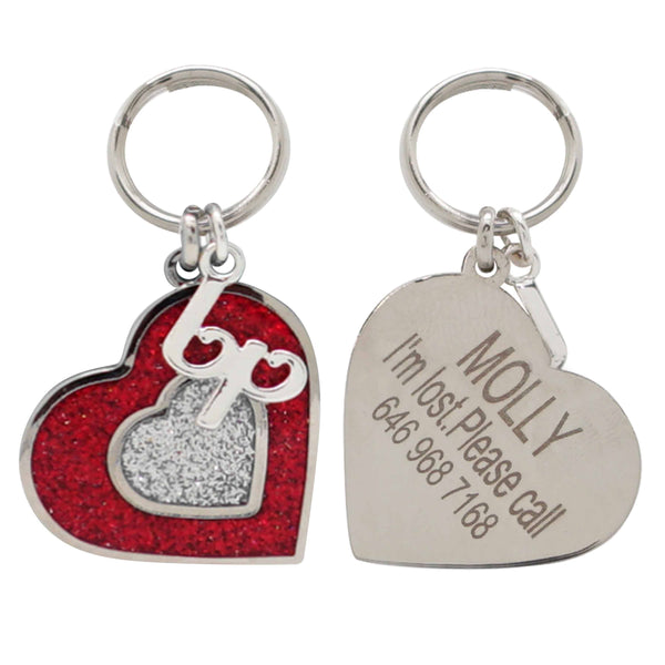 Dog Accessory Blueberry Pet Personalized Heart Designer ID Tag Sparkling Red Heart / One Size