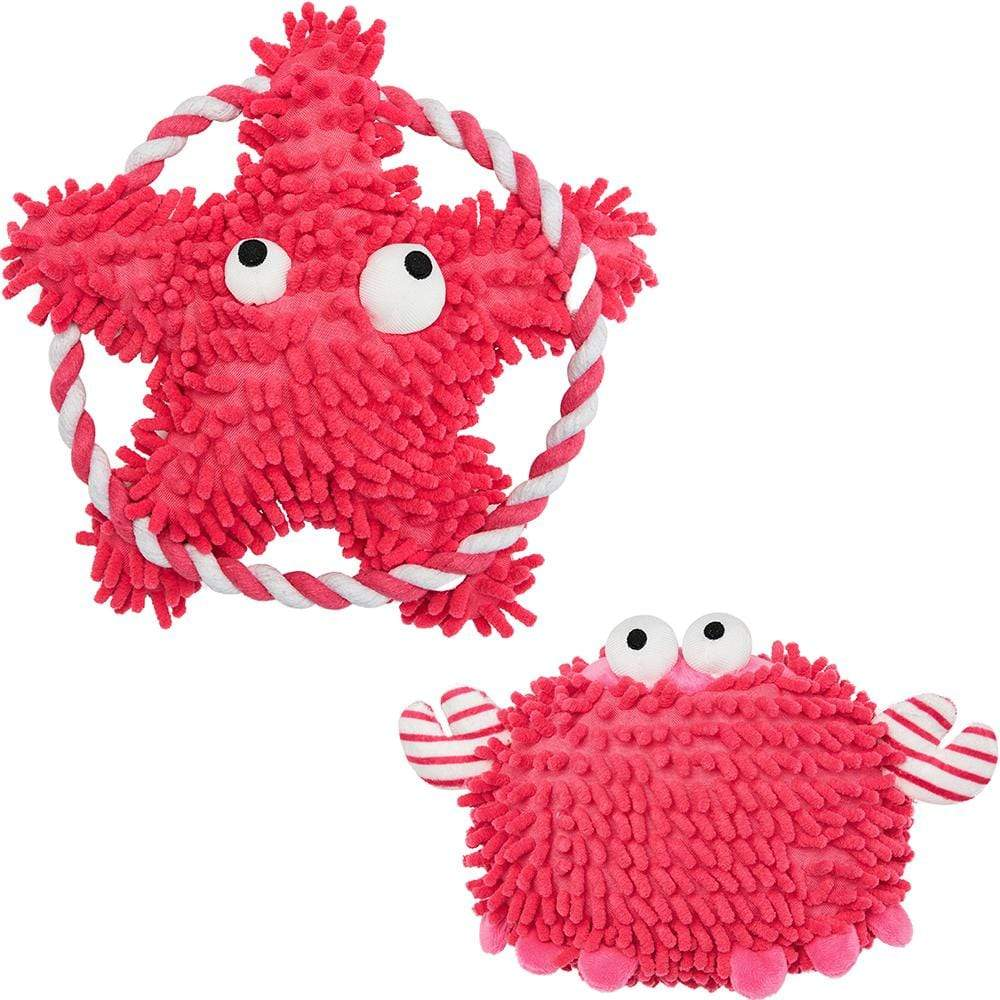"Dog Toy Blueberry Pet Saint Malo Dog Plush Toy Pink / 6"" Crab + 7.8"" Sea-star"