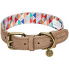 Dog Collar Blueberry Pet Shades of Rainbow Genuine Leather & Polyester Webbing Dog Collar Triangles / Small