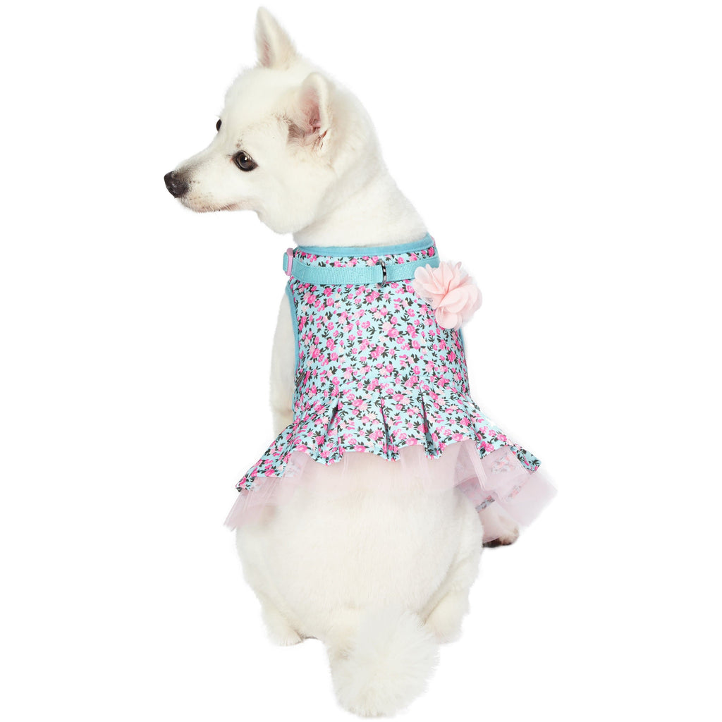 Dog Harness Blueberry Pet Made Well Floral Print Dog Harness Dress Light Blue / X-Small