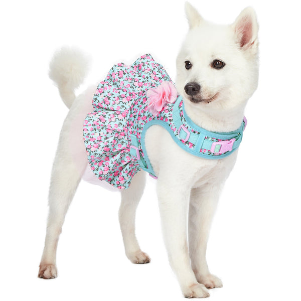 Dog Harness Blueberry Pet Made Well Floral Print Dog Harness Dress