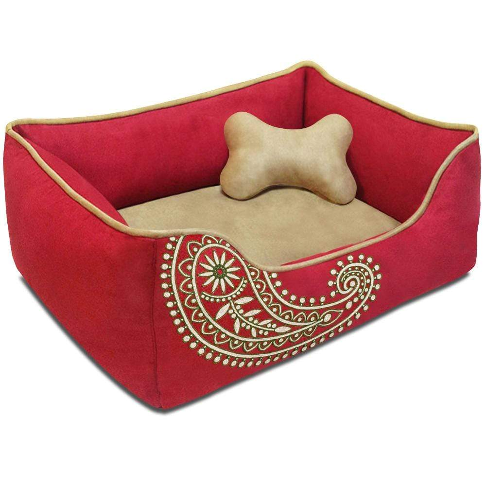 Dog Bed Blueberry Pet Paisley Inspired Embroidery Microsuede Dog Bed Tango Red / Small