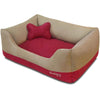 Dog Bed Blueberry Pet Color-block Premium Microsuede Dog Bed Tango Red & Champagne Beige / Small
