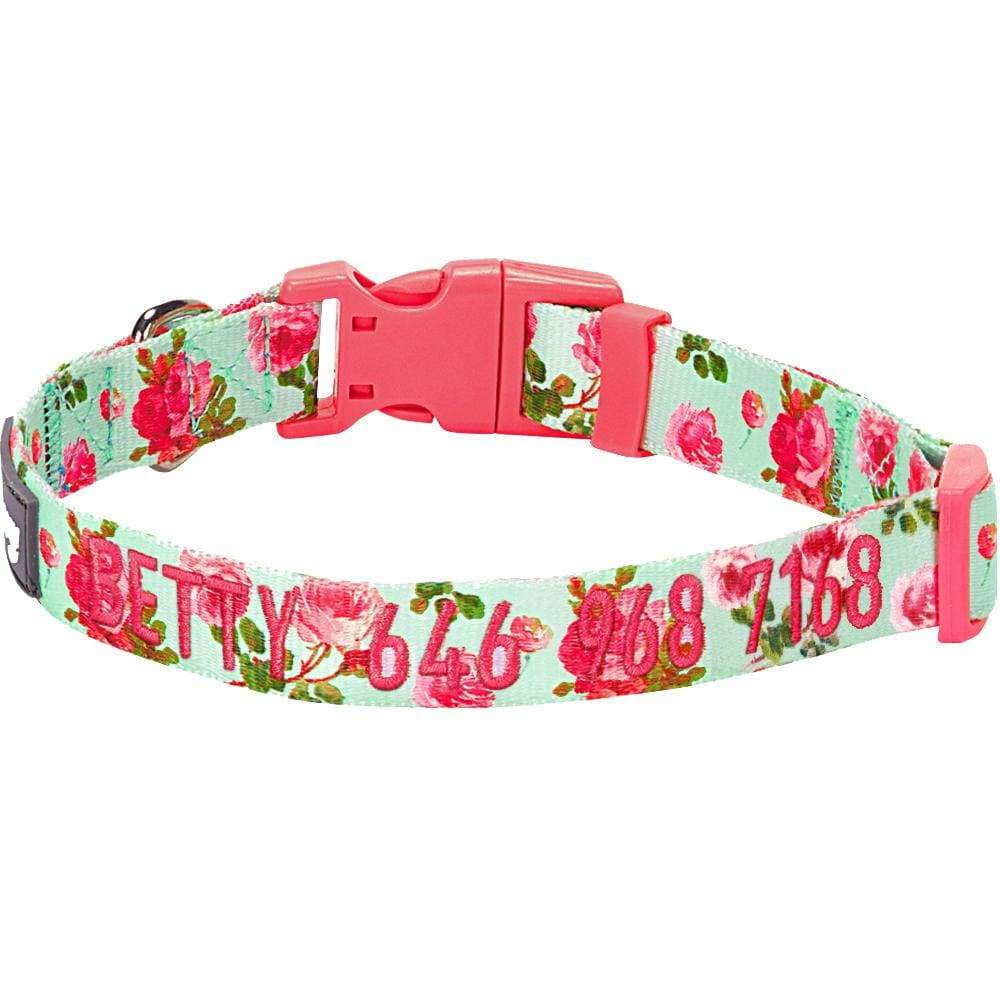 Dog Collar Blueberry Pet Personalized Spring Scent Inspired Floral Dog Collar Turquoise / Small