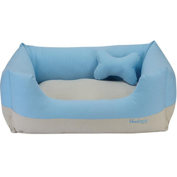 Dog Bed Blueberry Pet Color-block Linen Blend Dog Bed