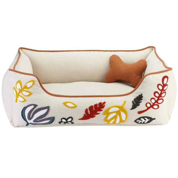 Dog Bed Blueberry Pet Embroidered Leaves Linen Dog Bed
