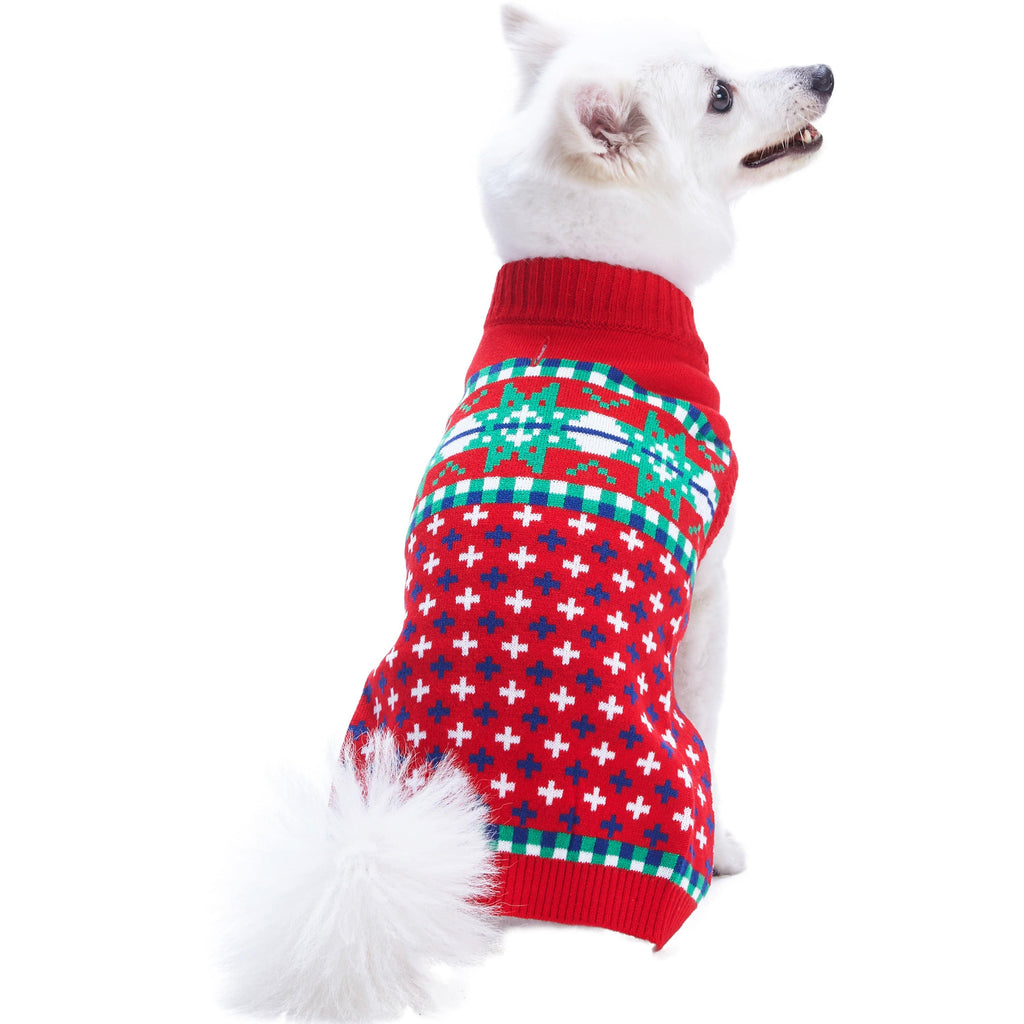 Dog Sweater Blueberry Pet Christmas Holiday Season Dog Sweater Christmas Snowflakes / 8""