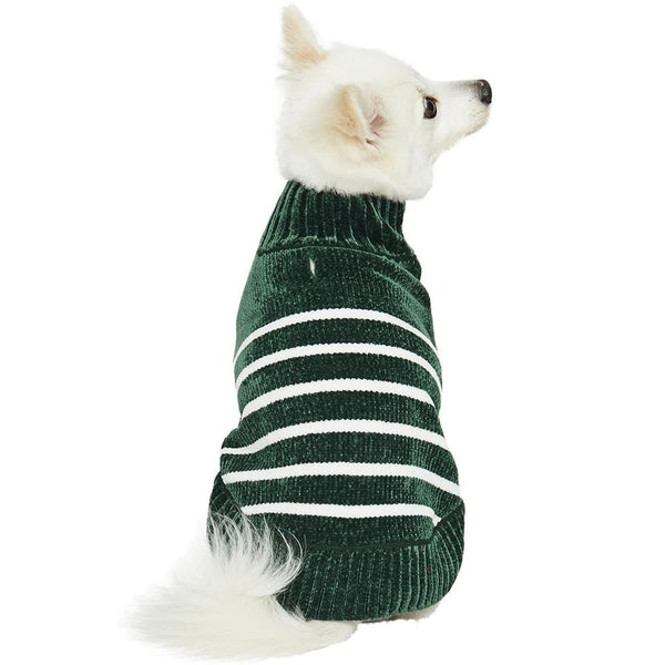 Dog Sweater Blueberry Pet Cozy Soft Chenille Classy Striped Dog Sweater