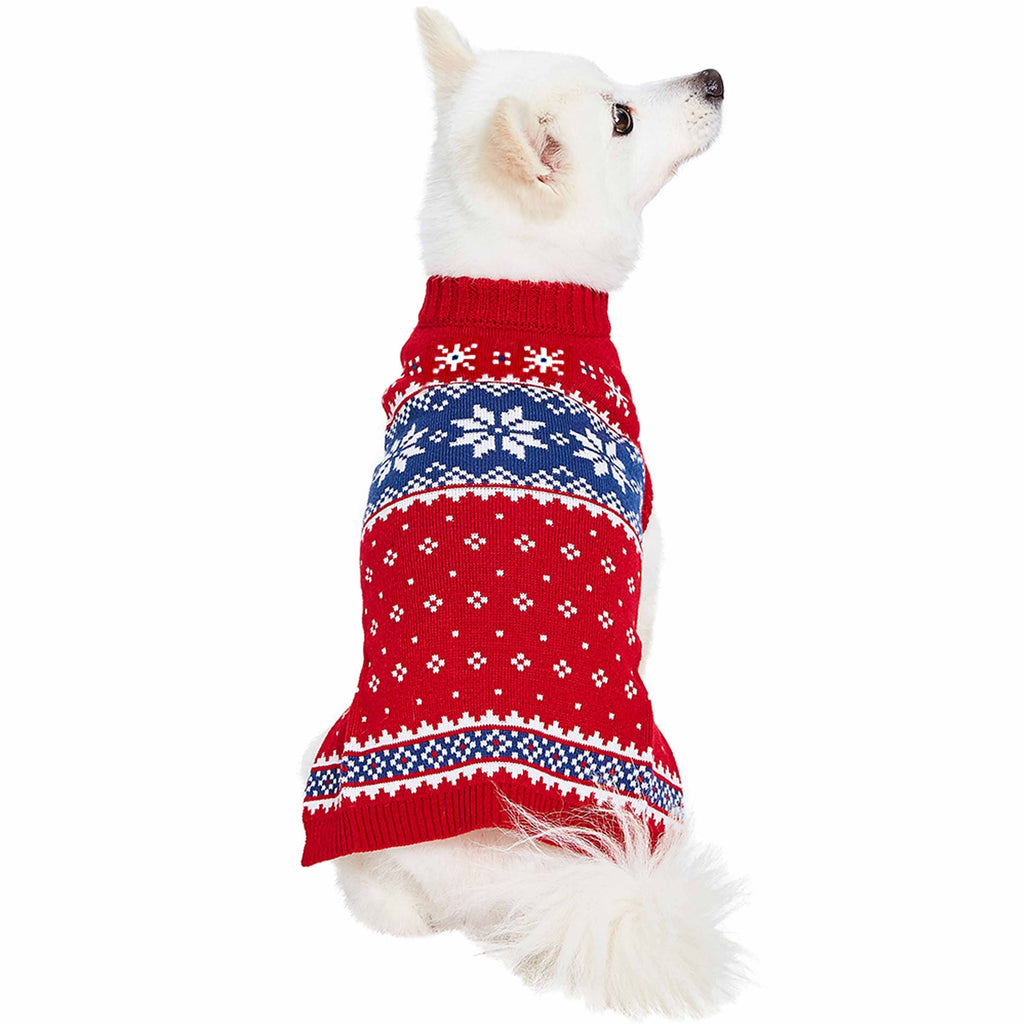Dog Sweater Blueberry Pet Christmas Snowflake Dog Sweater Festive Red / 10""
