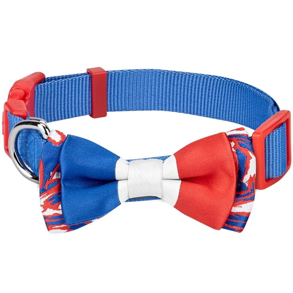 Dog Collar Blueberry Pet National Pride Flag of France Bowtie Dog Collar Blue / Small