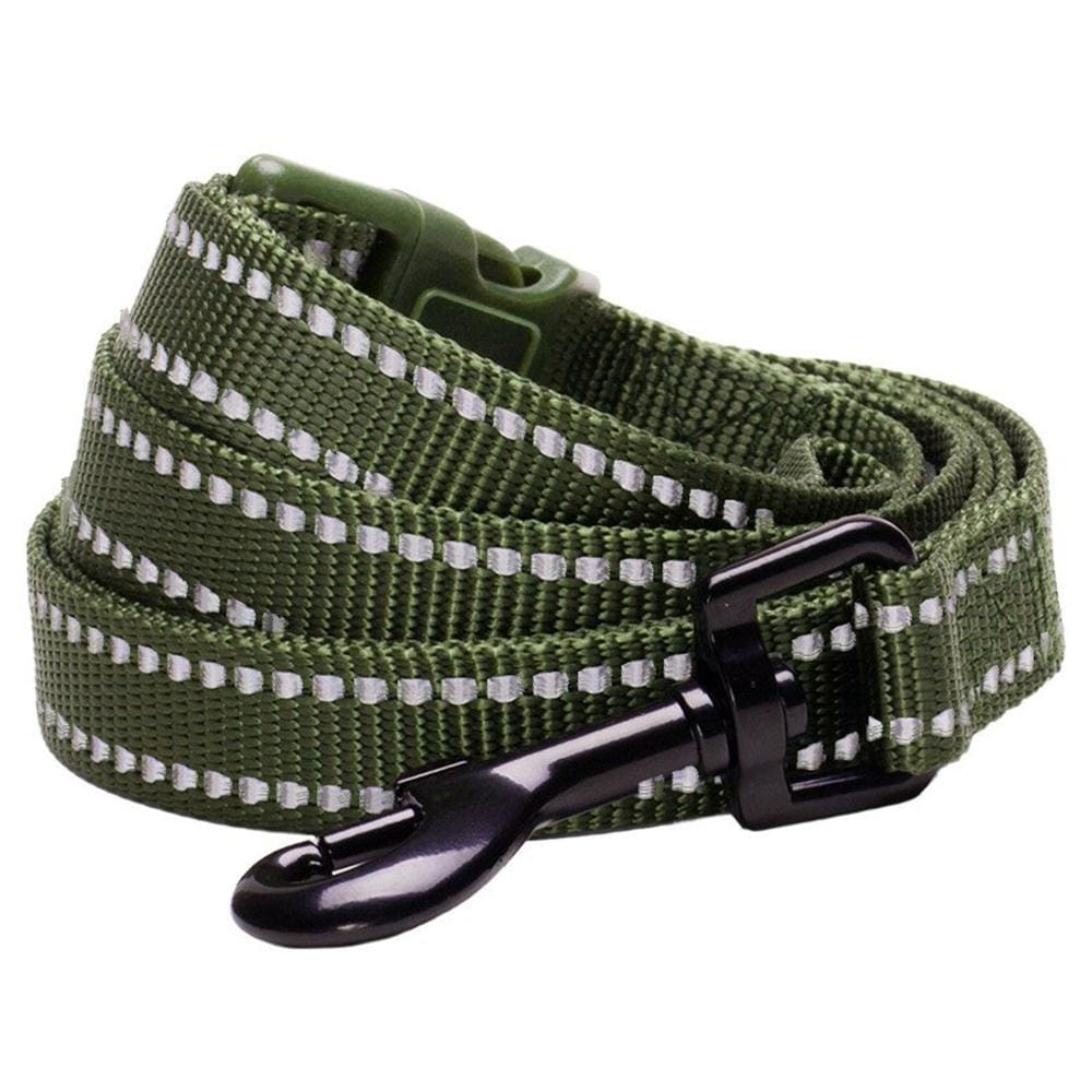 Dog Leash Essentials by Blueberry Pet 3M Reflective Dog Leash Olive Green / S