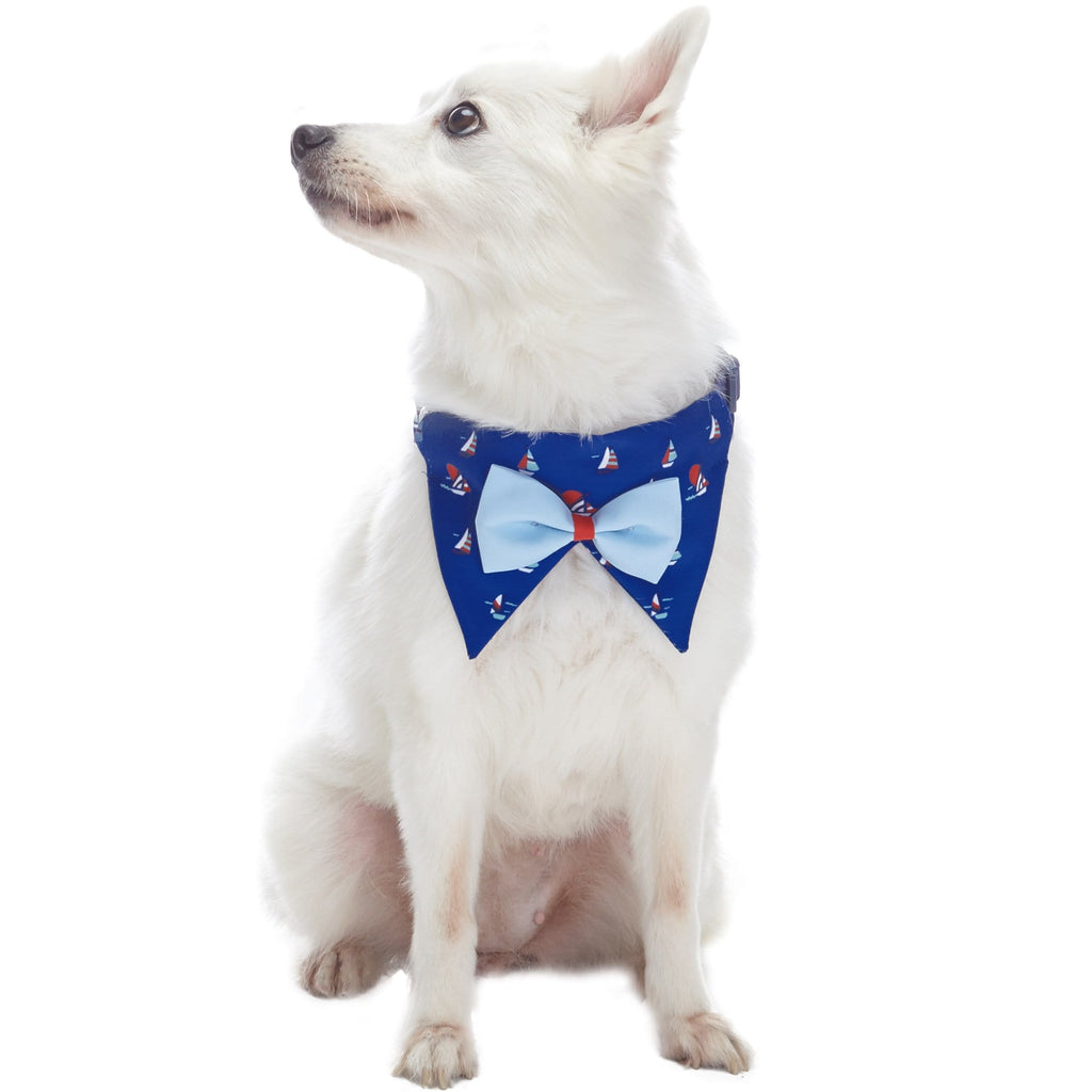 Dog Collar Blueberry Pet Bandana Dog Collar with Bowtie Sailboat / Small