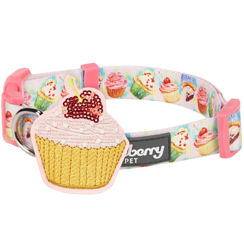 Dog Collar Blueberry Pet Desserts Designer Dog Collar with Decoration Delight Cupcake / Small