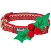 Dog Collar Blueberry Pet Christmas Dog Collar with Cute Décor Holly / Small