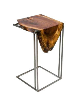 Wood Drip Side Table
