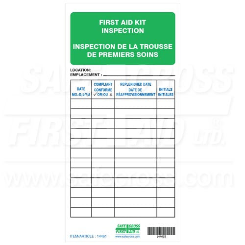 First Aid Kit Inspection Tags, 5/Package