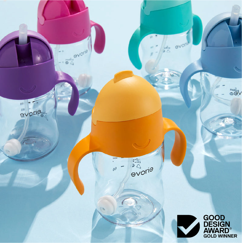 Evorie Tritan Baby 360 Straw Water Bottle Sippy Cup 200mL, Strawberry