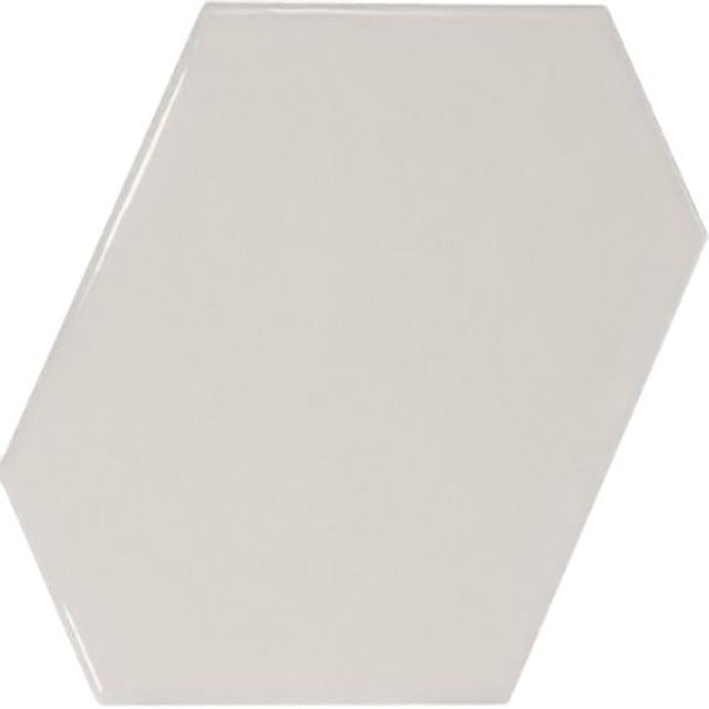 "Centura 4.5"" X 5"" Scale Benzene Glossy Light Grey Ceramic Wall Tile, available at Alberta Hardwood Flooring."