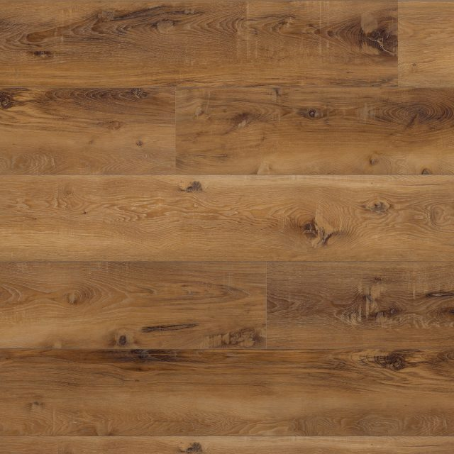 Evoke VCC Runway Tyra, a warm, wood grained embossed, wide plank vinyl in a low gloss finish.