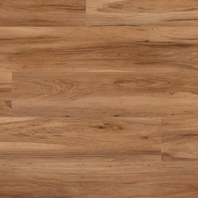 Evoke VCC Runway Rae, a warm, wood grained embossed, wide plank vinyl in a low gloss finish.