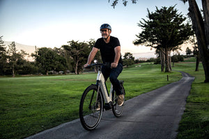 Man riding Gazelle Ultimate T10 ebike