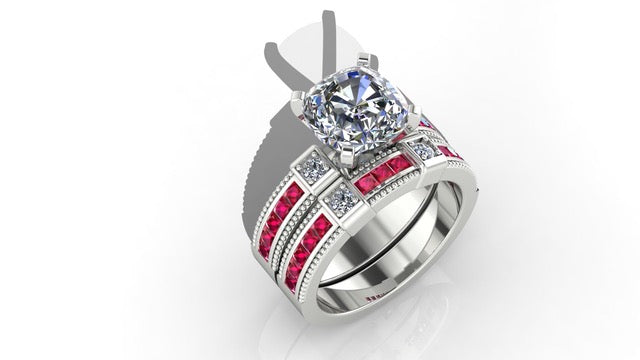14K White Gold With Princes Cut Rubys And Diamonds