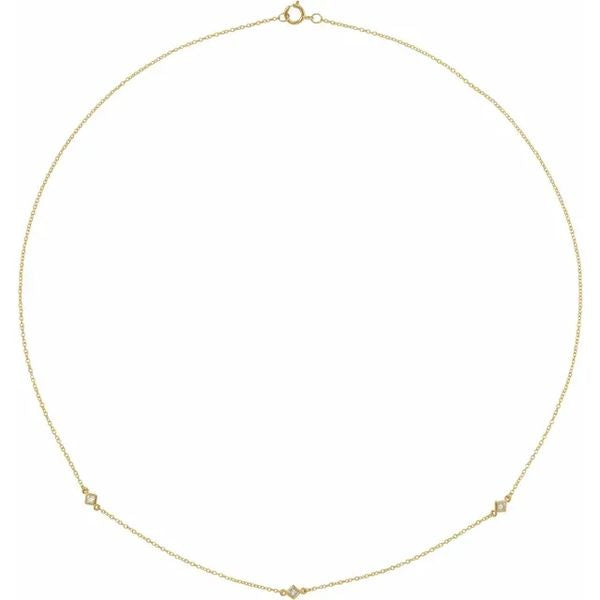 "14K Yellow 1/6 CTW Diamond 3-Station 16"" Necklace"