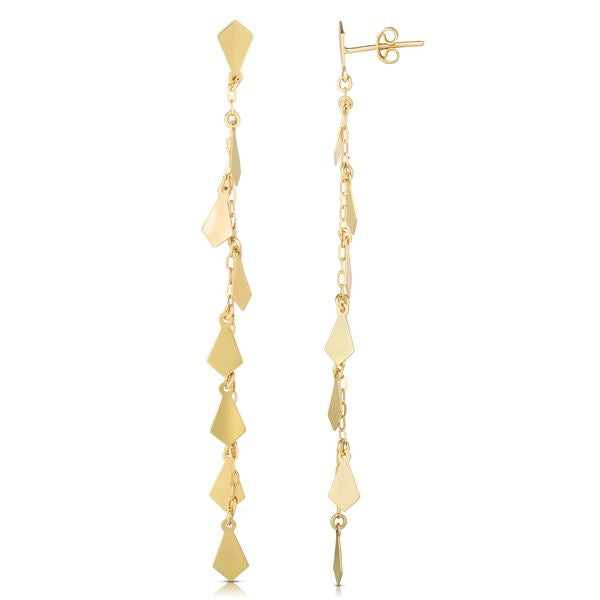 14K Diamond Shape Mirror Chain Earrings