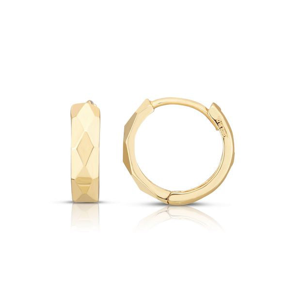 14K Yellow Faceted Huggie Hoops