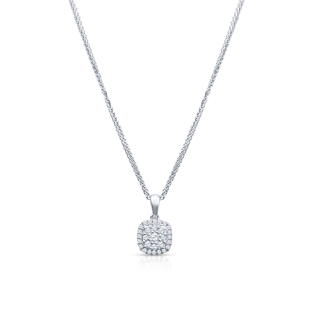 18K White Gold Box Chain With Diamond Pendent