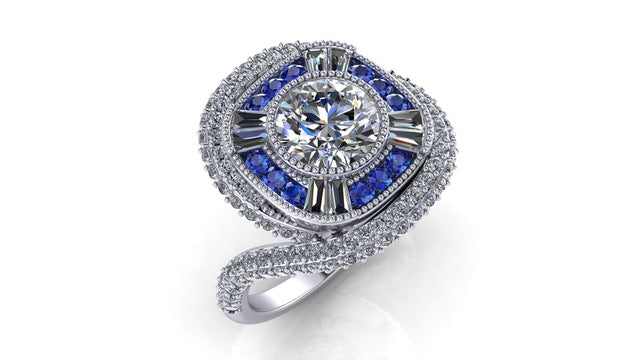 14K White Gold Diamond Ring With Blue Sapphire