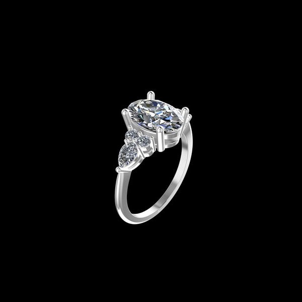 1.00 Carat 14K White Gold Diamond Oval Ring