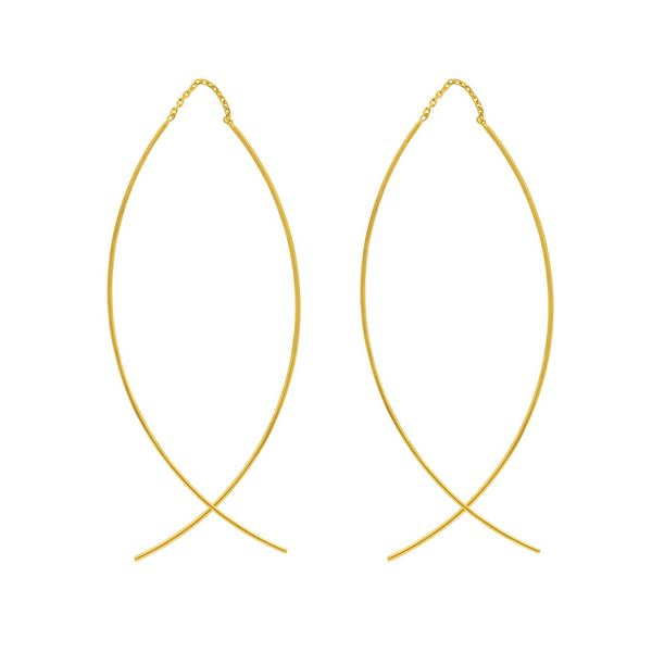 CURVED WIRE THREADER EARRINGS