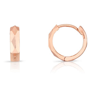 14K Rose Faceted Huggie Hoops